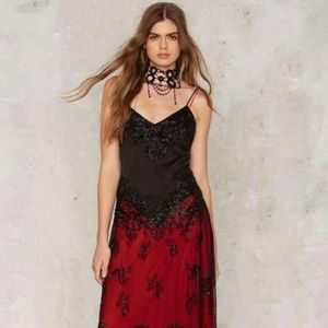 ff954ce429d Nasty Gal Dresses - NEW Nasty Gal Gossip Folks Crimson Black Lace Maxi